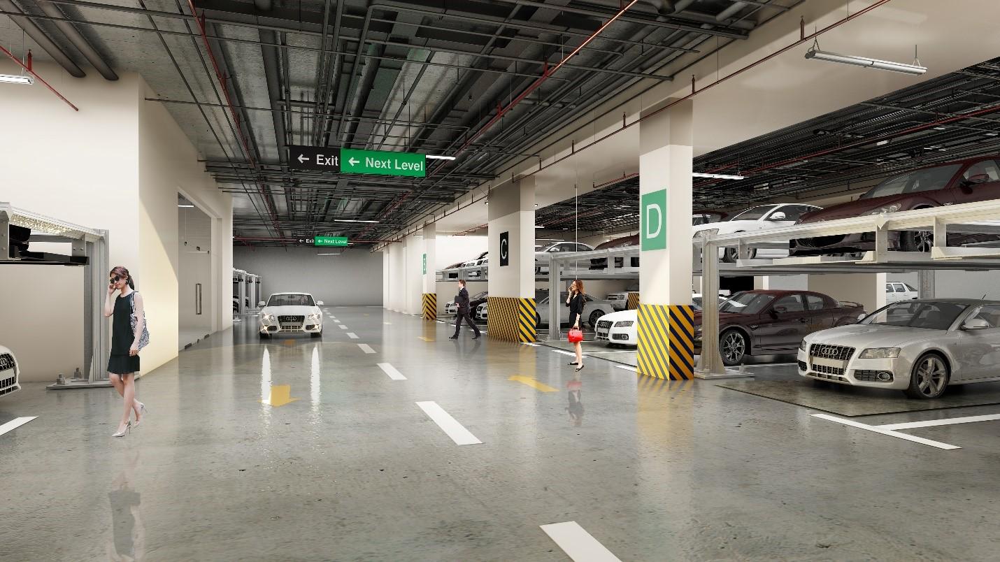 Hầm đỗ xe thông minh với chức năng đặt và giữ chỗ trống trong vòng 30 phút.