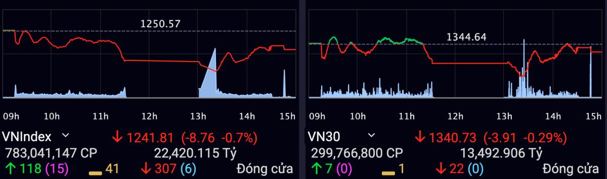 VN-Index giảm gần 9 điểm sau phiên 7/5. Ảnh: SSI.