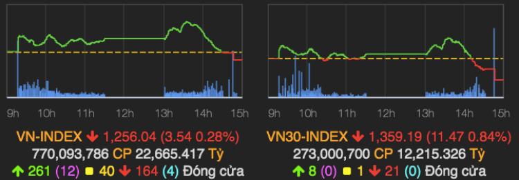 Diễn biến VN-Index và VN30-Index phiên 11/5. Ảnh: VNDIRECT.