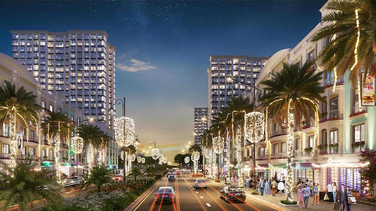 Trục đại lộ trung tâm kết nối trực tiếp với biển - nơi diễn ra các lễ hội rực rỡ ngày và đêm tại dự án.