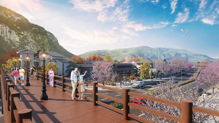 Phối cảnh cầu đi bộ phong cách Nhật tại dự án Sun Onsen Village.