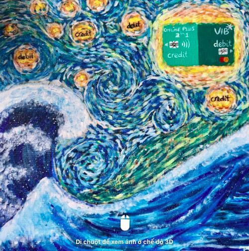 Tài khoản Hà Phương Võ trừ tượng hóa dòng thẻ mới của VIB với tác phẩm vẽ Đêm đầy sao.
