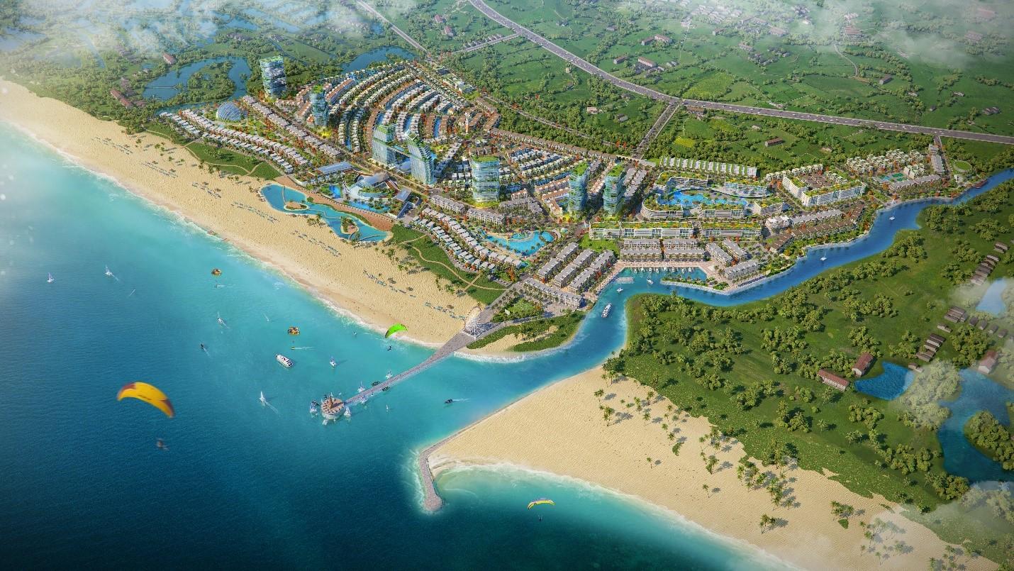 Dự án Venezia Beach có 1 km đường hướng biển. Ảnh phối cảnh: Hưng Vượng Developer.