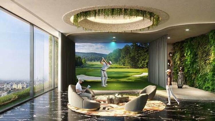 Tiện ích phòng golf 3D của khu phức hợp căn hộ cao cấp Happy One - Central.