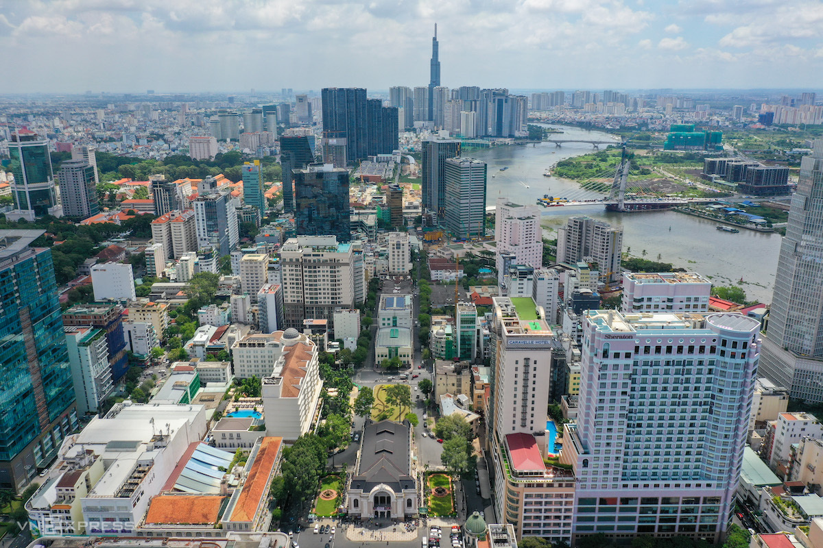 Khu vực trung tâm TP HCM, tháng 4/2021. Ảnh: Quỳnh Trần