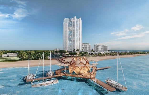 Cầu tình yêu dài hơn 100 m ra biển tại dự án Aria Vũng Tàu Hotel & Resort. Ảnh phối cảnh: Tập đoàn Danh Khôi.