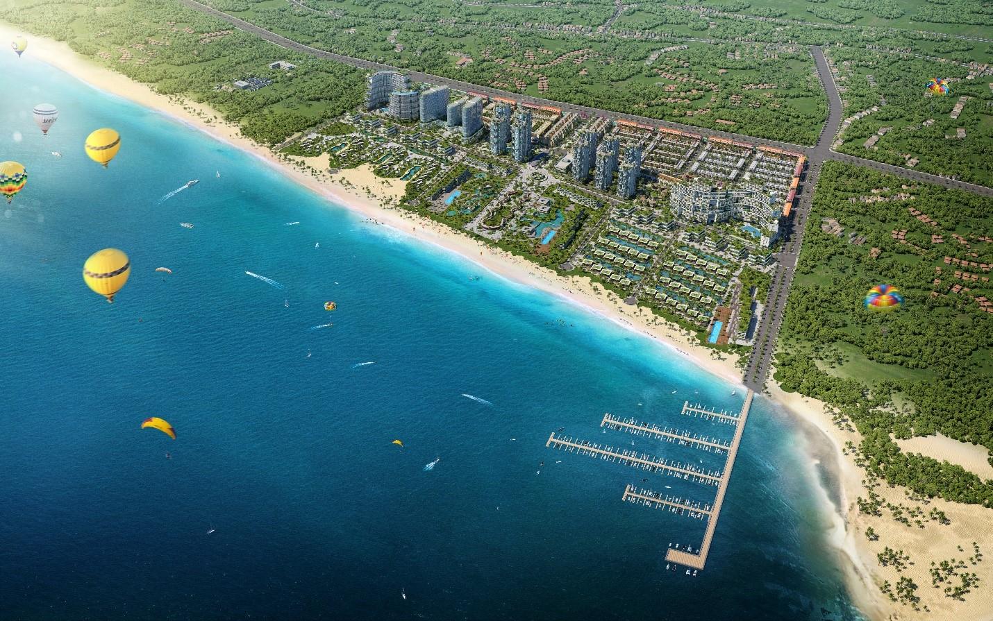 Căn hộ biển Wyndham Coast - một phân khu của đô thị nghỉ dưỡng và thể thao biển Thanh Long Bay tại Bình Thuận. Ảnh phối cảnh: Nam Group.