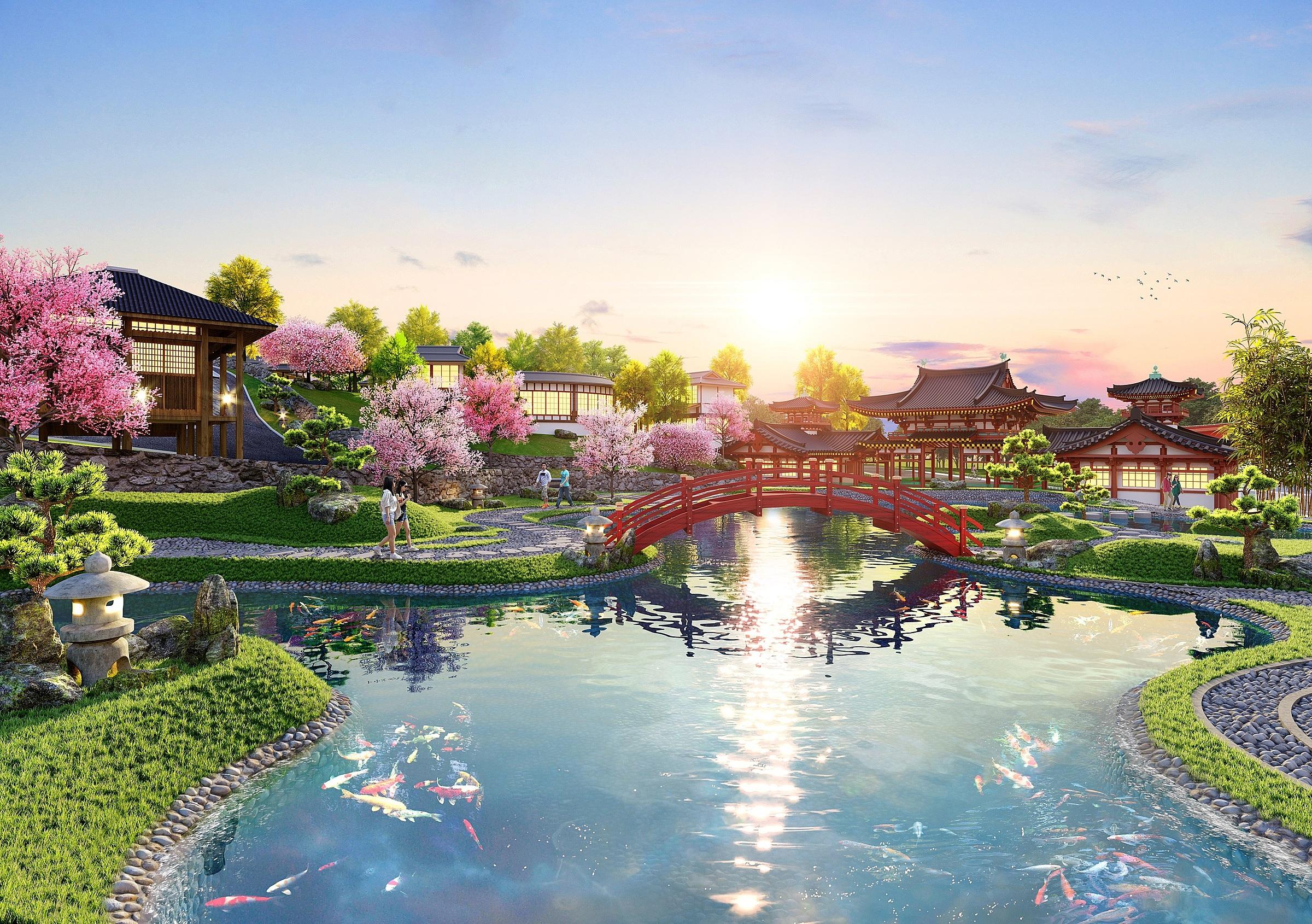 Cảnh quan tại Morito lấy cảm hứng từ nhiều nét kiến trúc Nhật Bản. Ảnh phối cảnh: Novaland.