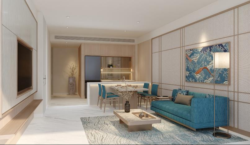 Các căn hộ Takashi Ocean Suite Kỳ Co đều theo thiết kế tối giản của người Nhật. Ảnh phối cảnh: Tập đoàn Danh Khôi.