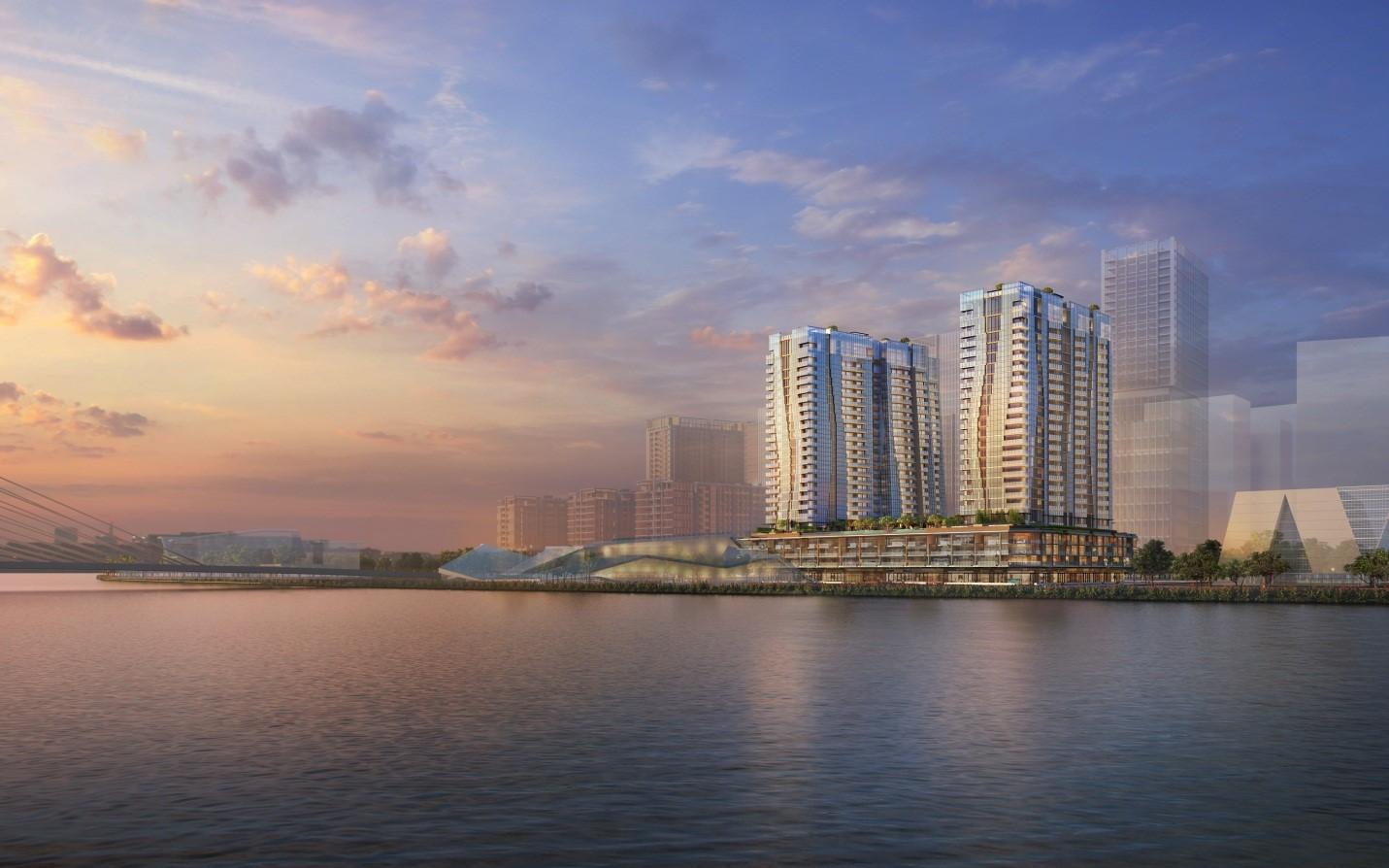Dự án The Opera Residence với tầm nhìn rộng mở ra sông Sài Gòn. Ảnh phối cảnh: SonKim Land.