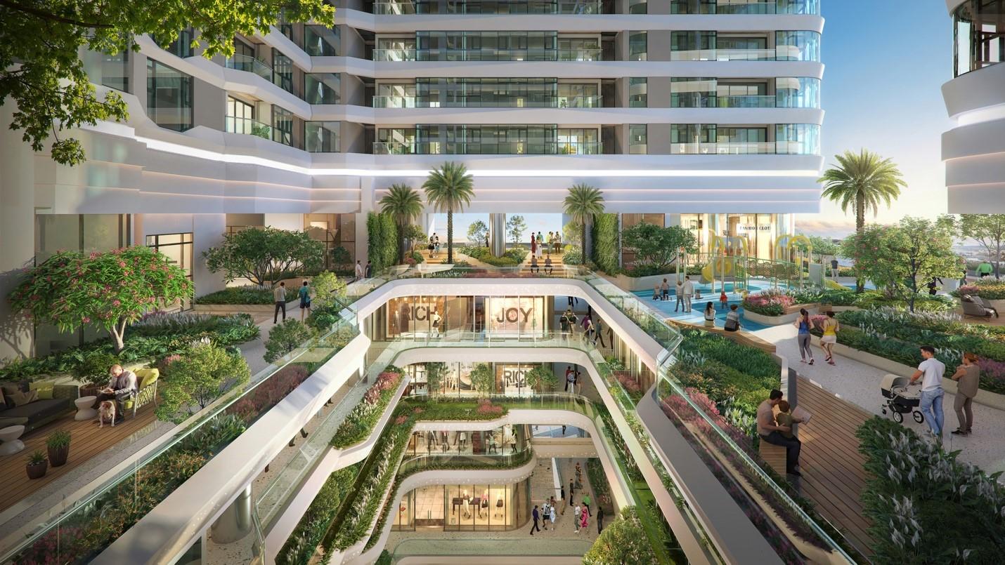 Phố đi bộ trong nhà xuyên sốt 6 tầng thương mại của dự án. Ảnh: Đơn vị phát triển dự án BCG Land.