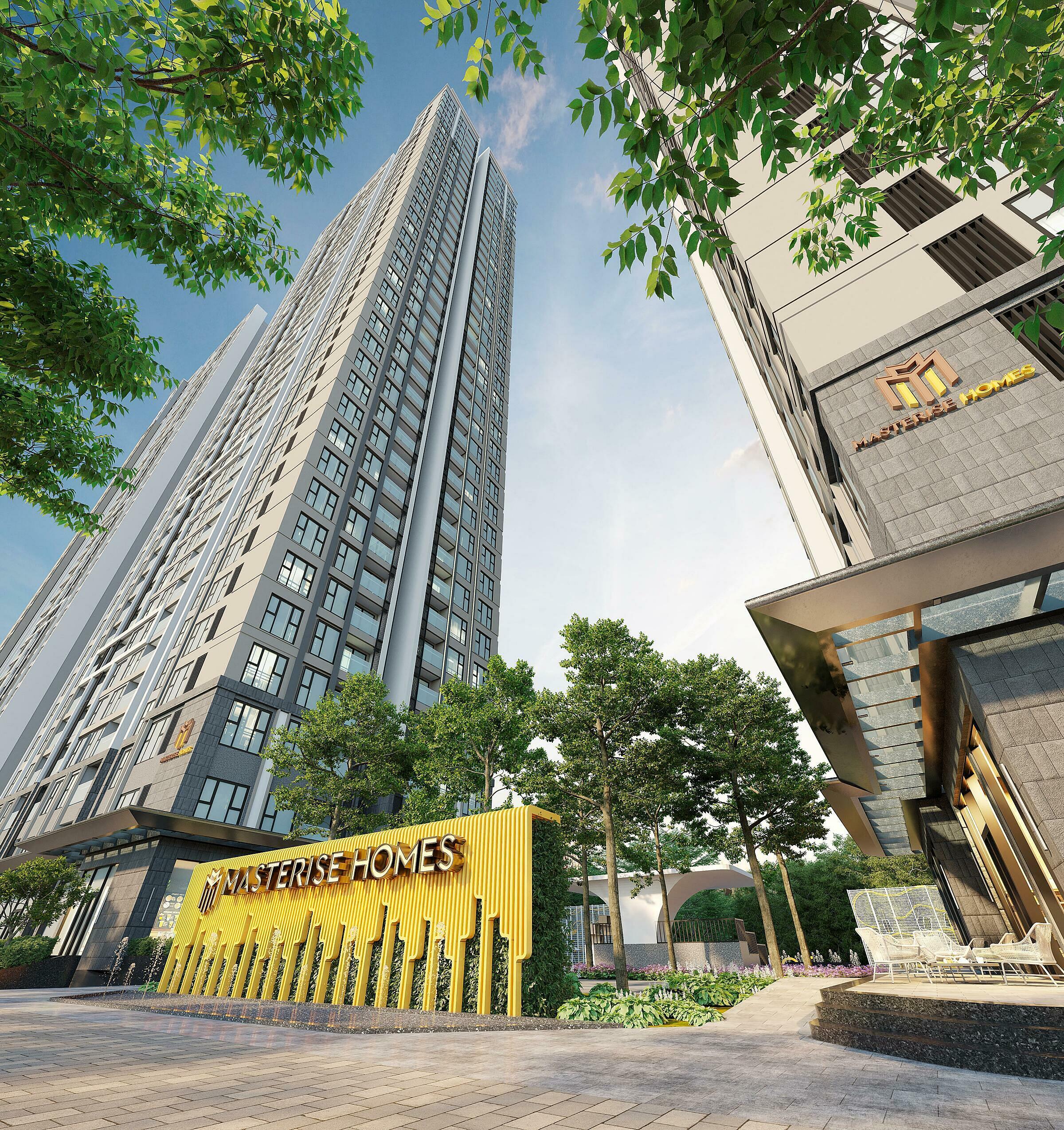 Masteri West Heights là dự án căn hộ chung cư cao cấp do Masterise Homes đầu tư, nằm trong Khu đô thị Smart City. Ảnh phối cảnh: Masterise Homes.