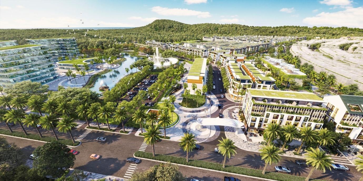 Meyhomes Capital Phú Quốc kiến tạo đại đô thị bền vững với hệ sinh thái tiện ích đa dạng, phục vụ cuộc sống trọn vẹn cho tương lai đảo Ngọc. Ảnh phối cảnh: Tân Á Đại Thành.