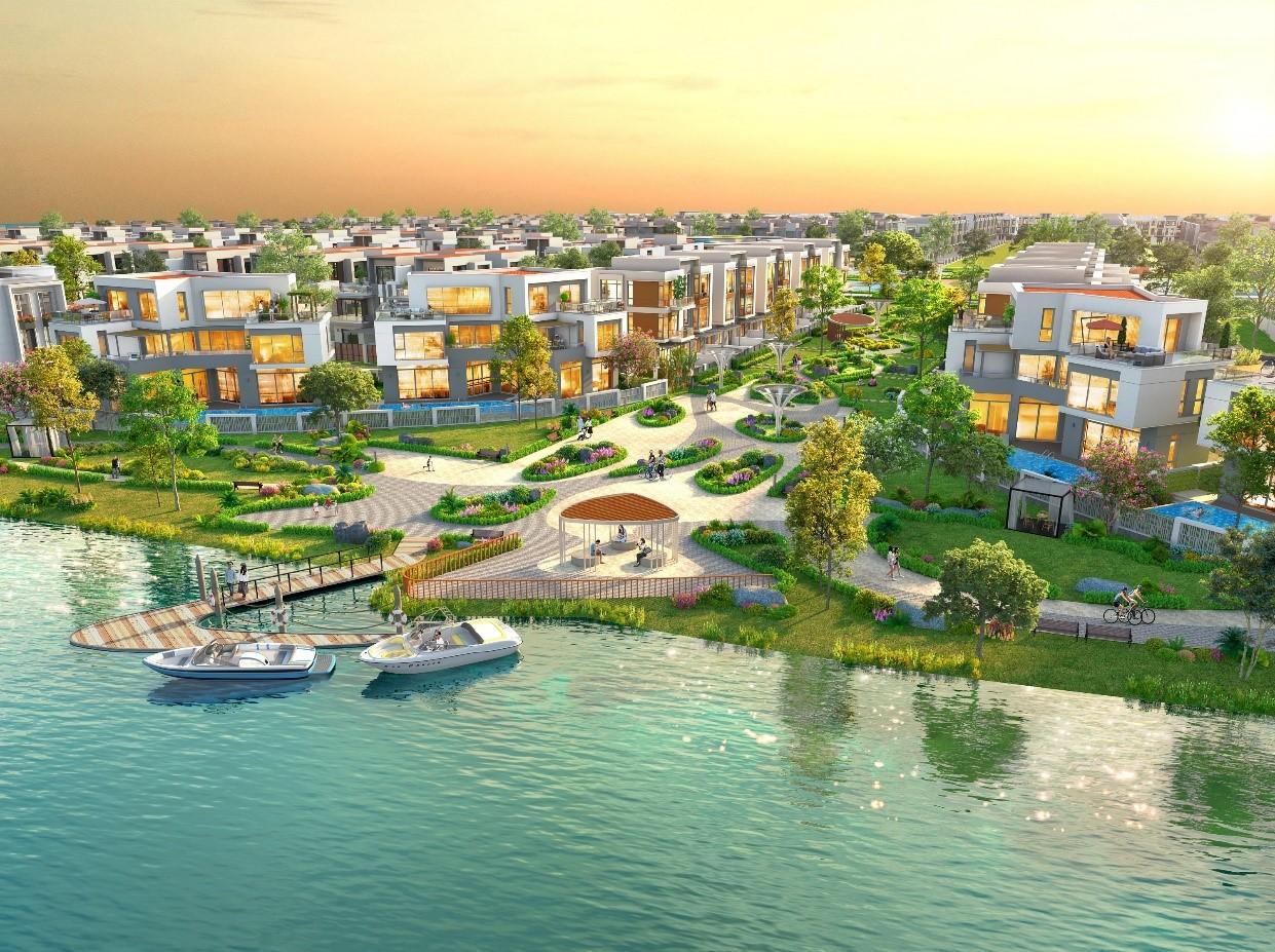 Đô thị sinh thái thông minh Aqua City quy mô 1.000 ha của tập đoàn Novaland nằm trong bán kính cách sân bay Long Thành chỉ 15 phút khi hạ tầng hoàn thiện. Ảnh phối cảnh: Novaland.