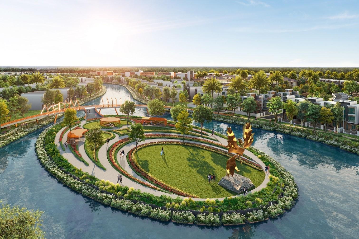 Dự án Aqua City quy hoạch theo mô hình đô thị sinh thái thông minh dành tới hơn 70% diện tích cho mảng xanh, tiện ích nội khu. Ảnh phối cảnh: Novaland.