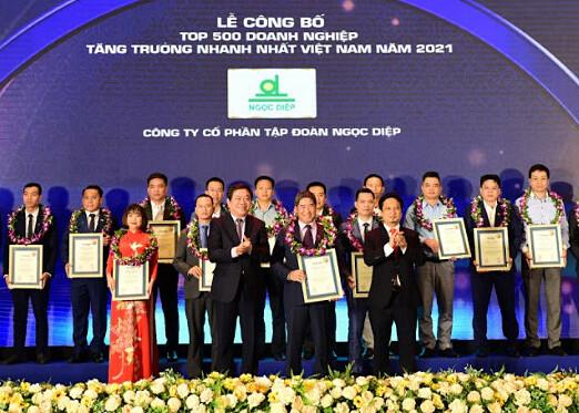 Ông Trần Hữu Quân, Phó Tổng Giám đốc Tập đoàn Ngọc Diệp (đứng giữa hàng phía trước) đại diện Tập đoàn Ngọc Diệp nhận danh hiệu Top 500 doanh nghiệp tăng trưởng nhanh nhất Việt Nam năm 2021 từ Vietnam Report. Ảnh: Tập đoàn Ngọc Diệp.