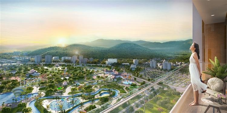 View thành phố và tổ hợp giải trí từ căn hộ Sun Marina Town.