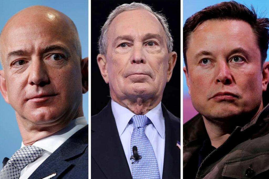 Từ trái qua là tỷ phú Jeff Bezos, Michael Bloomberg và Elon Musk. Ghép ảnh: NYT.