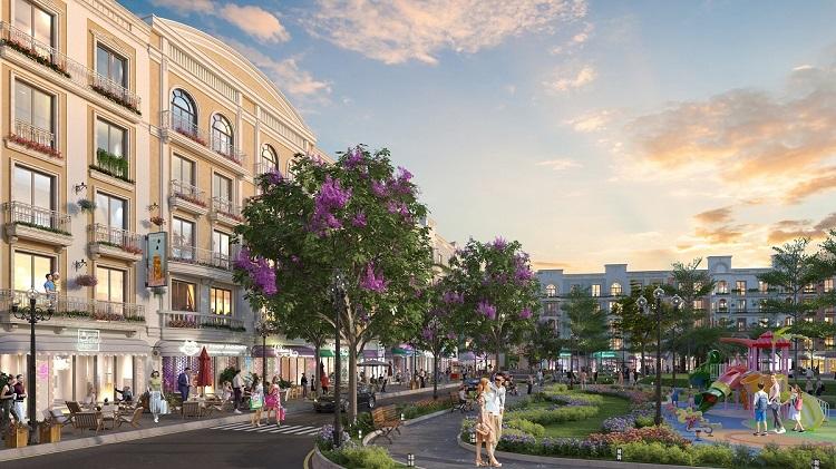 Hai phân khu shophouse lớn nhất dự án là Amsterdam và Champs Elysees đều có công viên nội khu xanh mát.