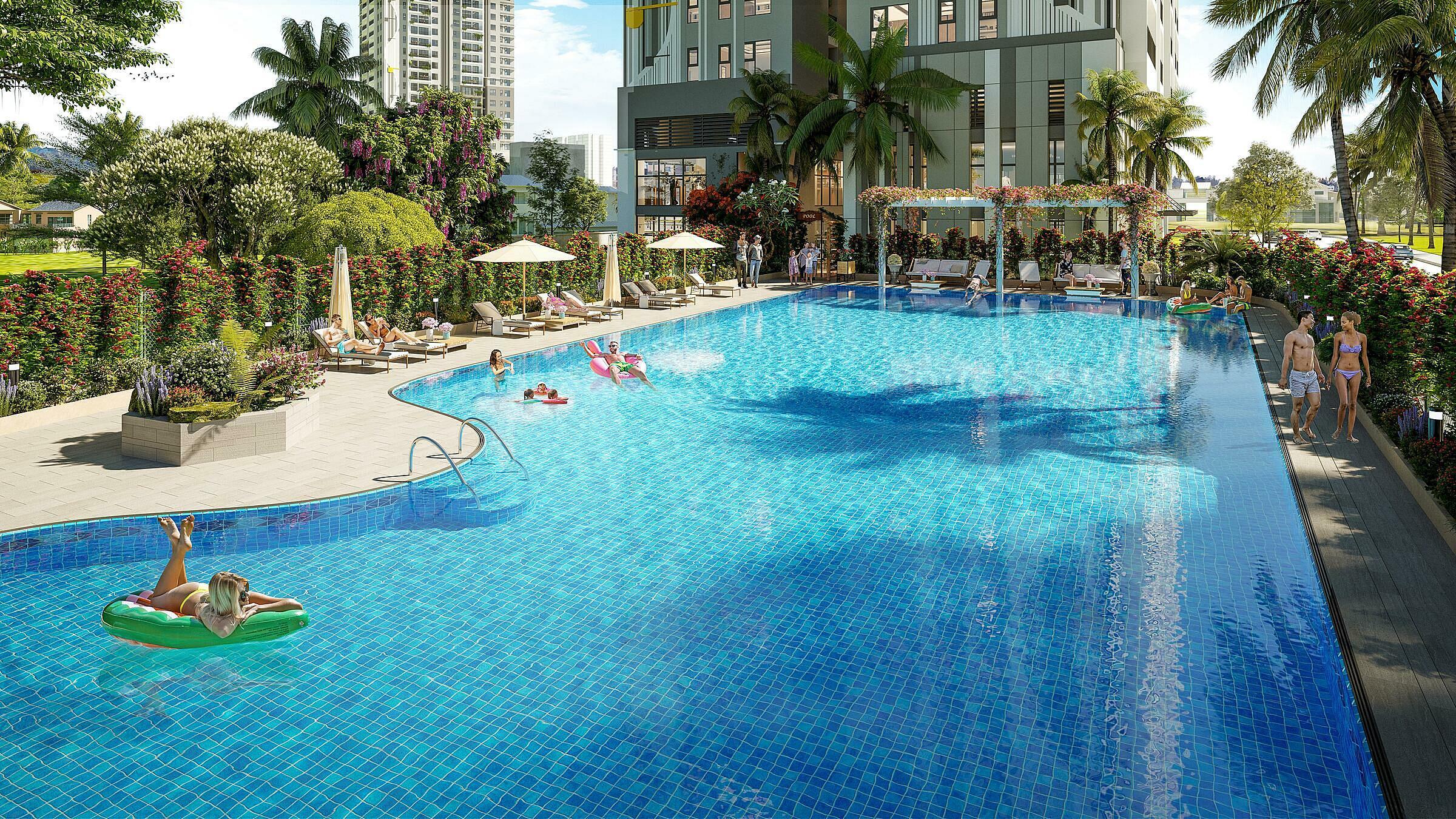 Phối cảnh bể bơi theo phong cách resort rộng hơn 430 m2 tại dự án. Ảnh: BRGLand.