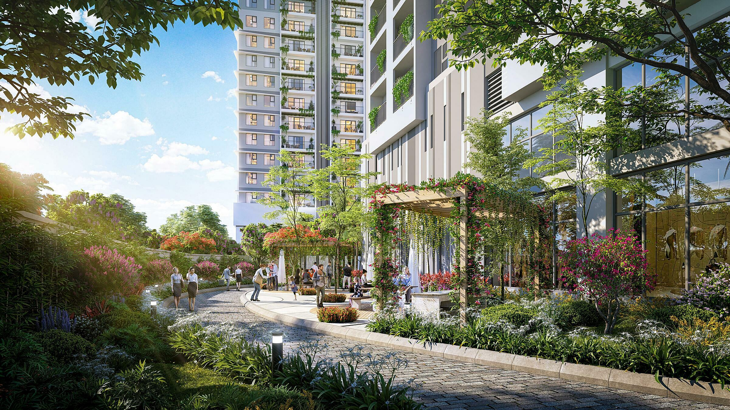 Phối cảnh đường đi bộ của dự án BerRiver Jardin, địa chỉ 390 Nguyễn Văn Cừ, Long Biên, Hà Nội. Ảnh: BRGLand.