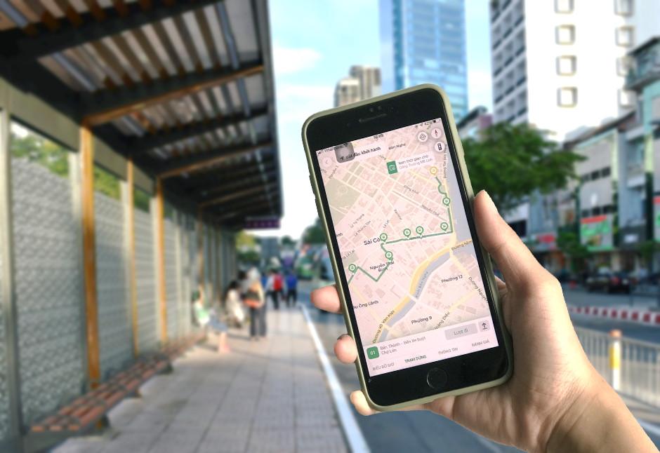 Một giao diện gợi ý lộ trình di chuyển bằng xe buýt tại TP HCM của BusMap. Ảnh: Phenikaa.