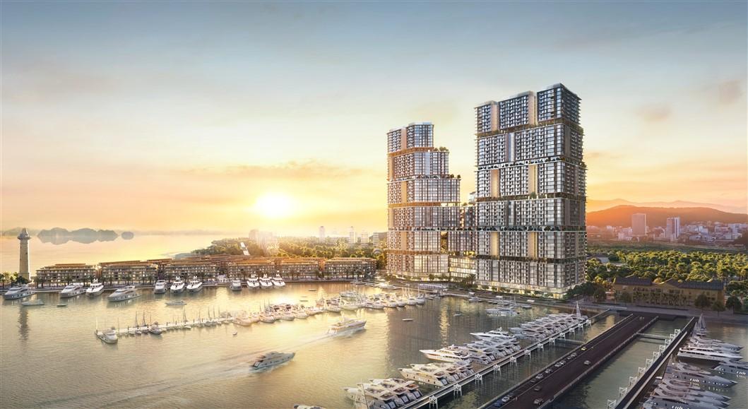 Toàn cảnh tổ hợp bất động sản, giải trí Sun Marina bên vịnh du thuyền. Ảnh: Sun Group.