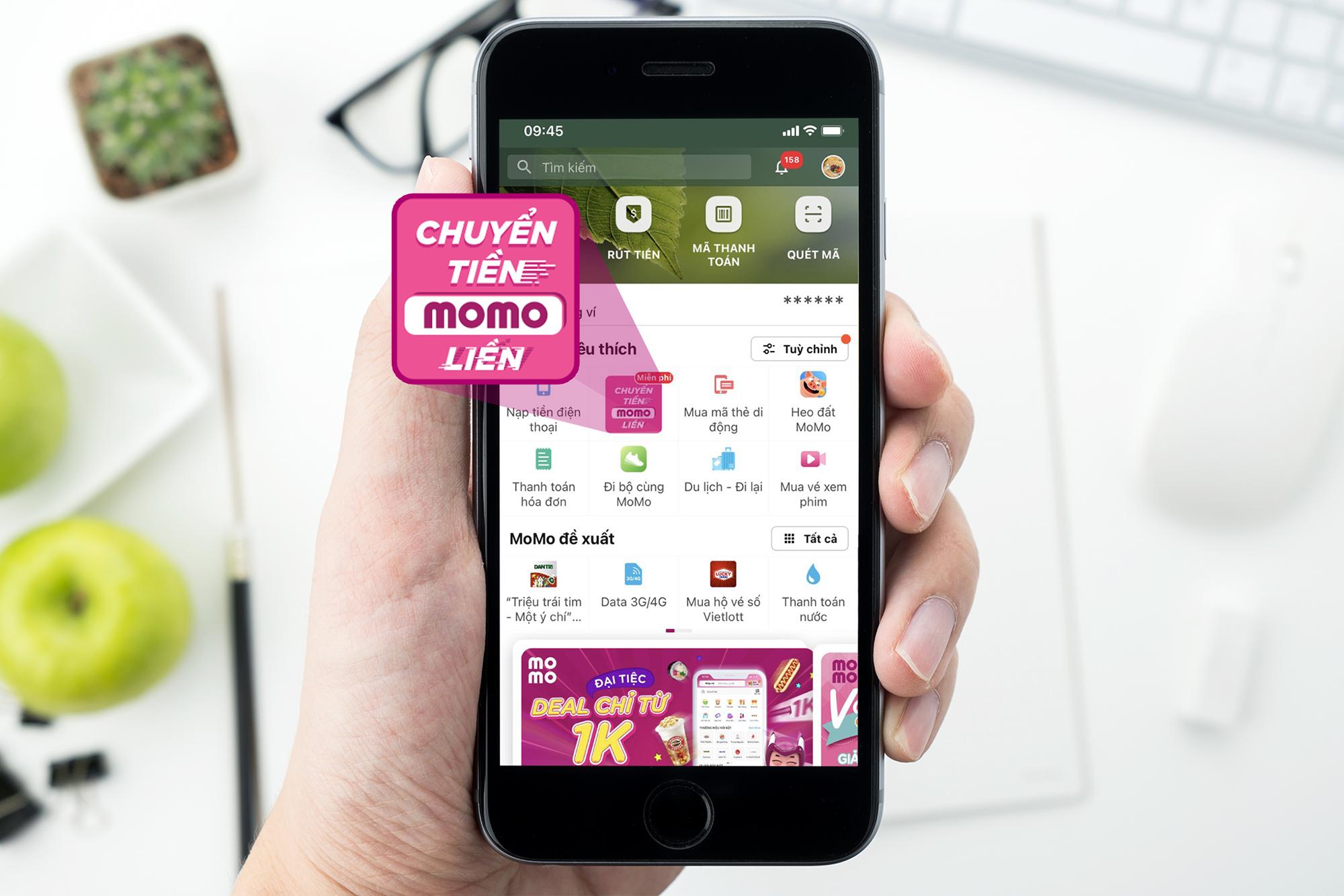 Thông điệp Chuyển tiền - MoMo liền trong tính năng Chuyển tiền của Ví điện tử MoMo. Ảnh: MoMo
