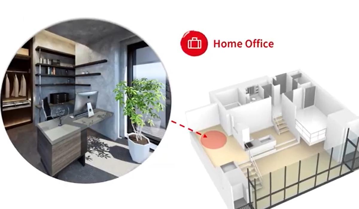 Phối cảnh mô hình căn hộ văn phòng hay còn gọi là căn hộ Soho.