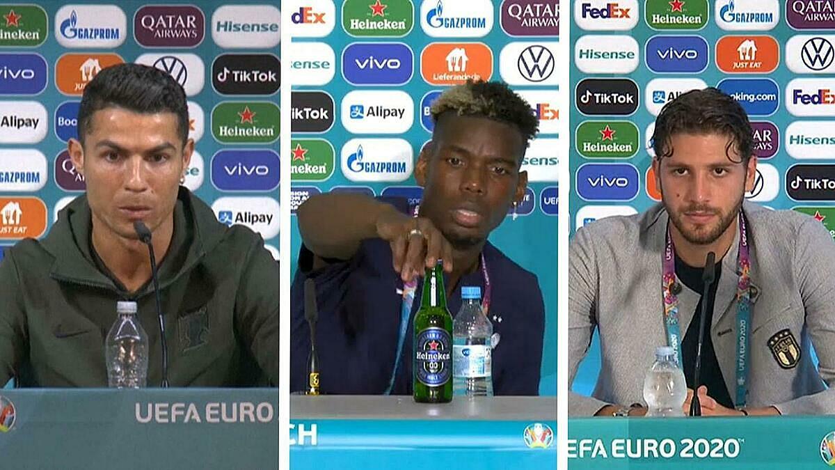 Ronaldo, Pogba, Locatelli loại bỏ sản phẩm của nhà tài trợ khỏi bàn họp báo. Ảnh: AP.