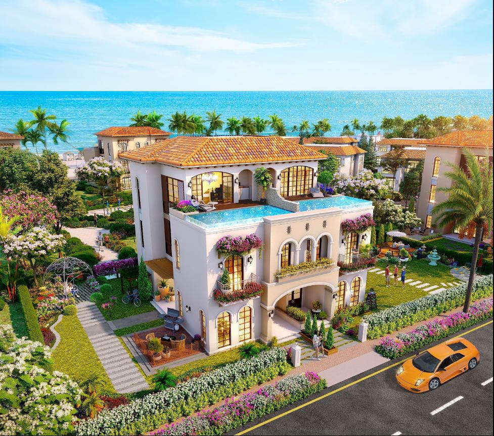 Dòng sản phẩm biệt thự Garden Villas tặng nội thất hoàn thiện tại phân kỳ Habana Island. Ảnh phối cảnh: Novaland.