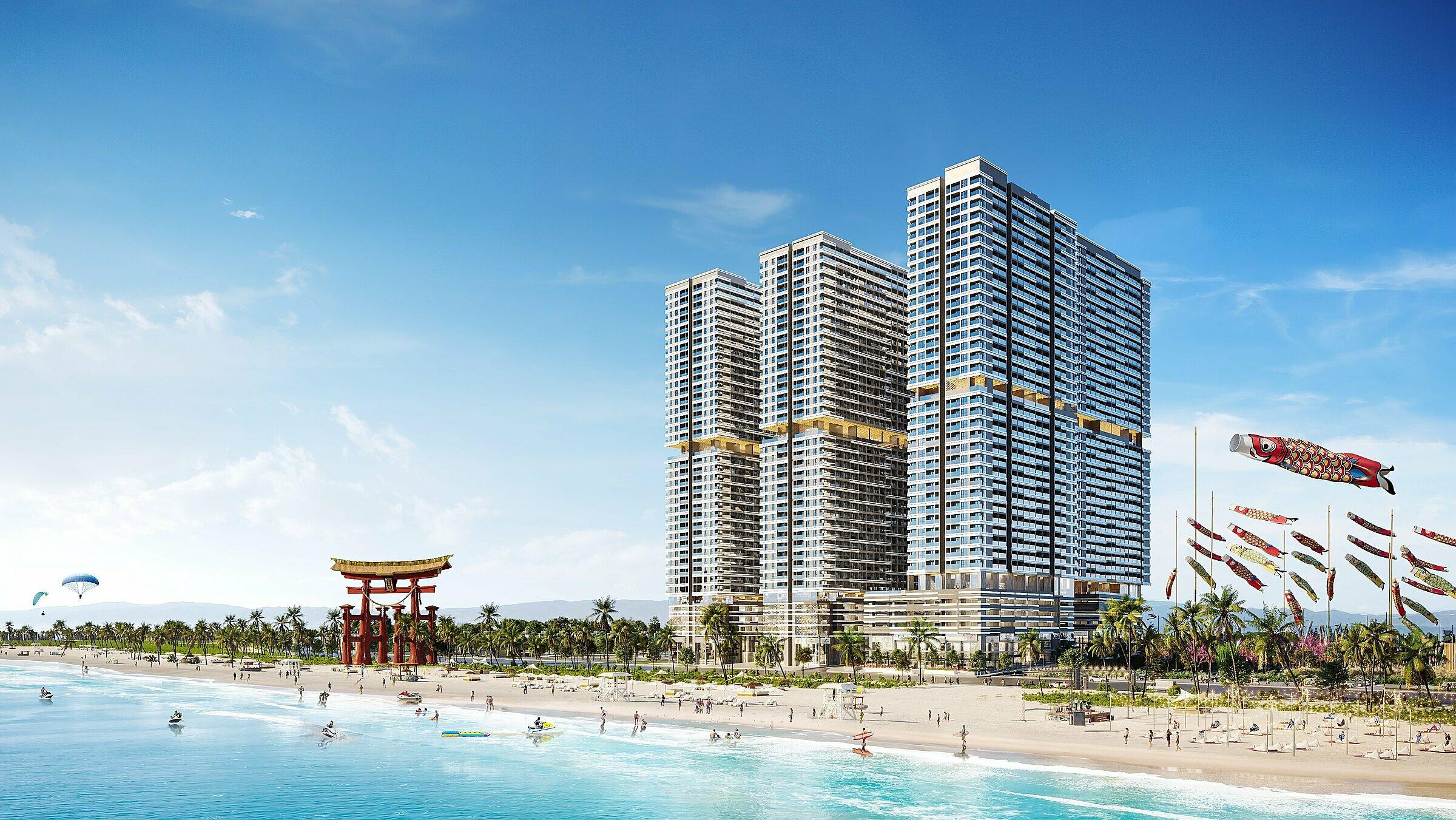 Phối cảnh Khu đô thị Takashi Ocean Suite Kỳ Co nhìn từ mặt biển. Ảnh: Tập đoàn Danh Khôi.