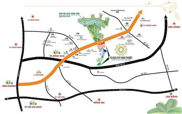 Vị trí dự án Felicia City Bình Phước.