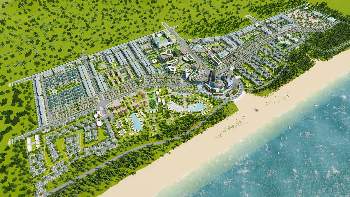 Phối cảnh tổng thể dự án Khu du lịch sinh thái Tân Dân.