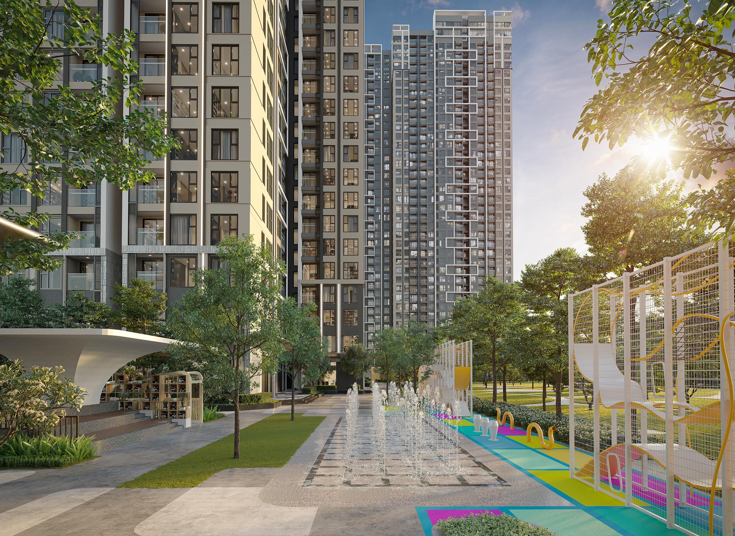 Dự án có tiện ích cao cấp được khách hàng đặc biệt quan tâm. Ảnh phối cảnh dự án Masteri West Heights.