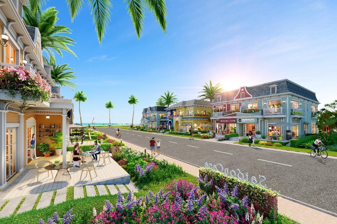 Mỗi căn shop villa tại phân kỳ Wonderland đều là căn góc, có thiết kế hai tầng - ba chìa khóa cùng không gian xanh dành cho cảnh quan sân vườn, giúp tối ưu công năng nghỉ dưỡng cuối tuần và thuận tiện kết hợp kinh doanh. Ảnh phối cảnh: Novaland.