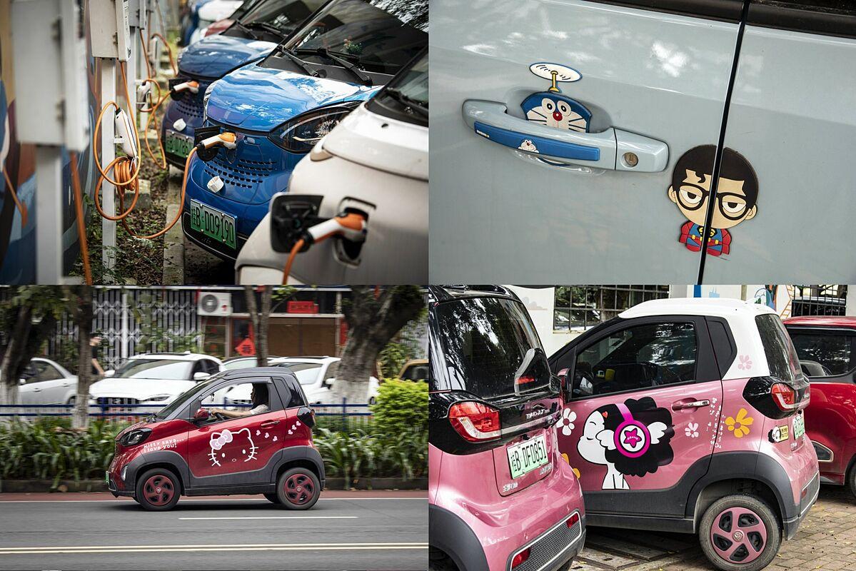 Xe điện được sạc khắp nơi ở Liễu Châu. Ảnh: Bloomberg