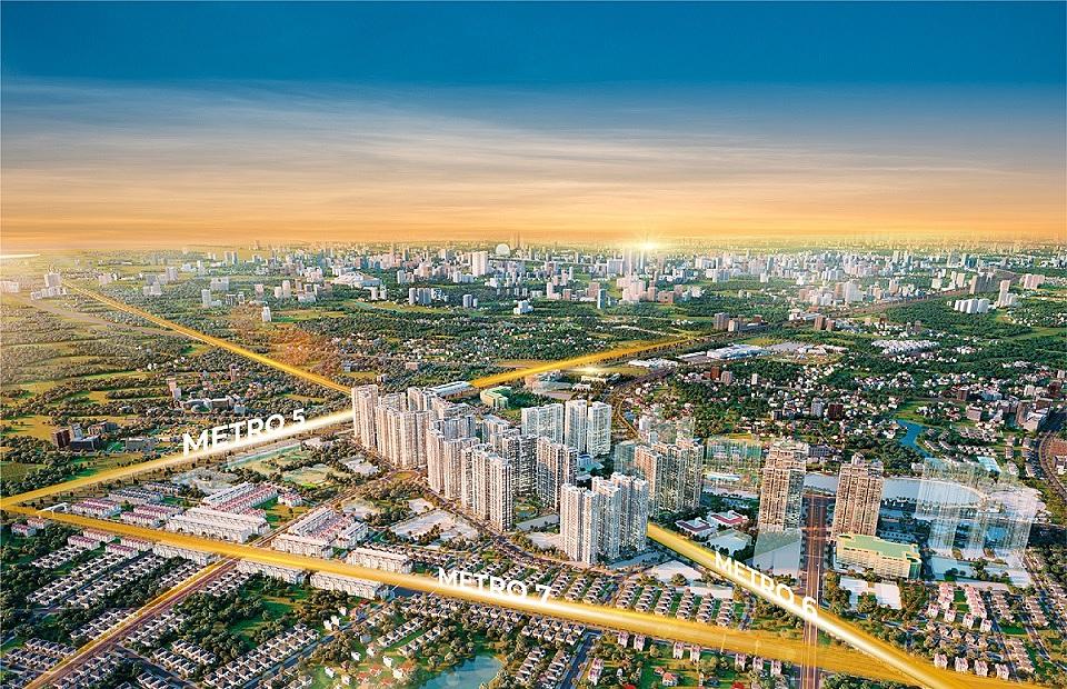 Phối cảnh dự án The Metrolines với vị trí giao 3 tuyến metro. Ảnh: Vinhomes.