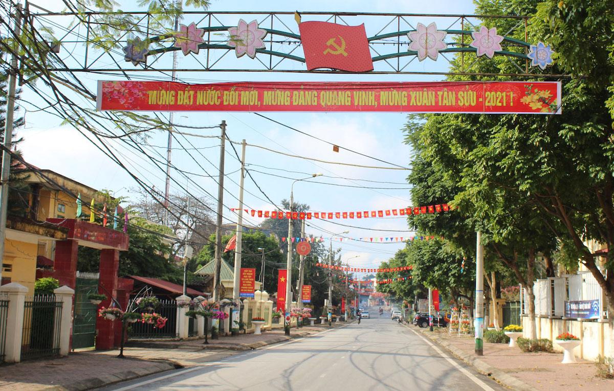 Trung tâm huyện Tam Nông, Phú Thọ đầu năm 2021. Ảnh: Tamnong.phutho.gov.vn.
