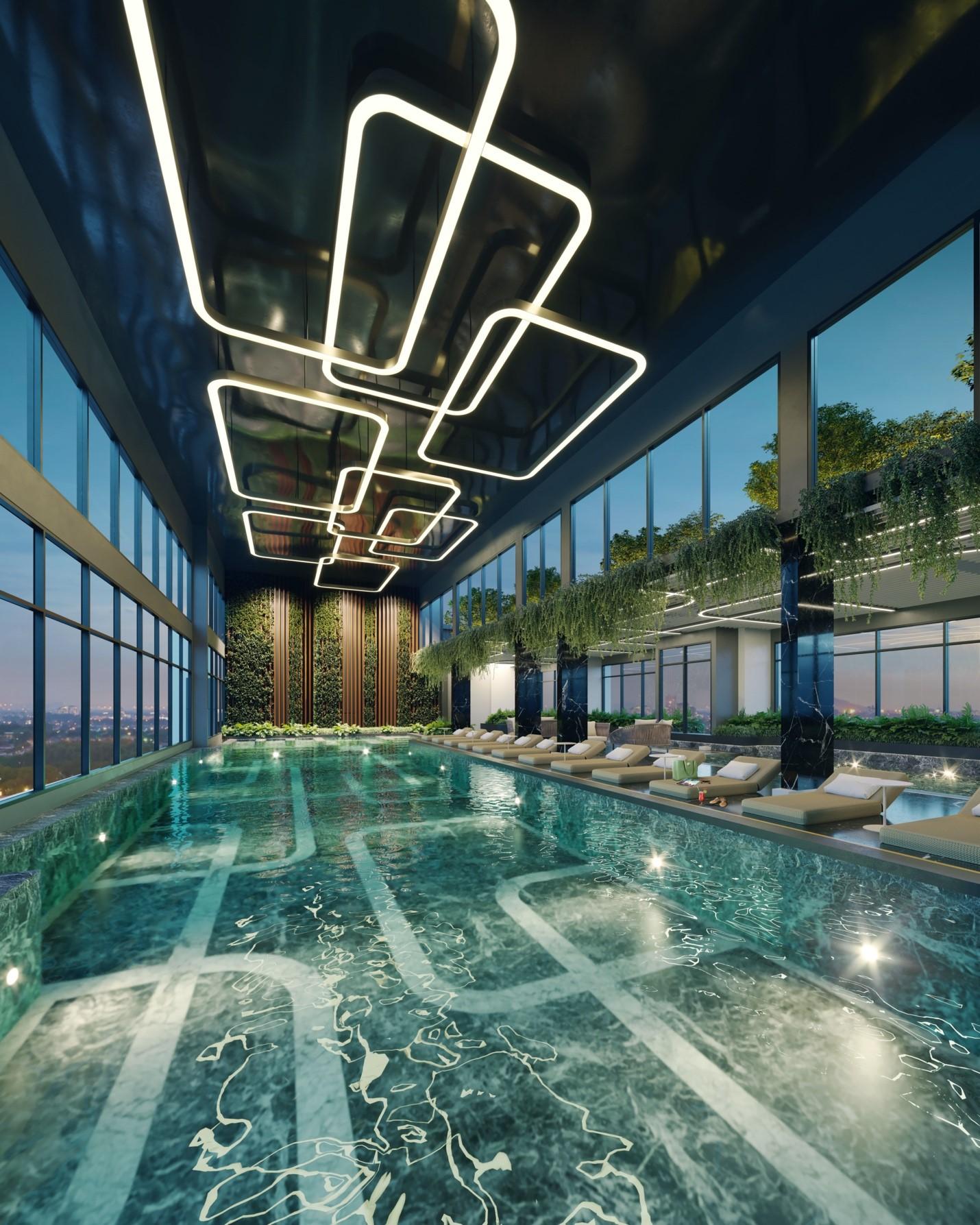 Bể bơi trong nhà là một trong 22 tiện ích đặc quyền của cư dân Masteri West Heights. Ảnh phối cảnh: Masterise Homes.