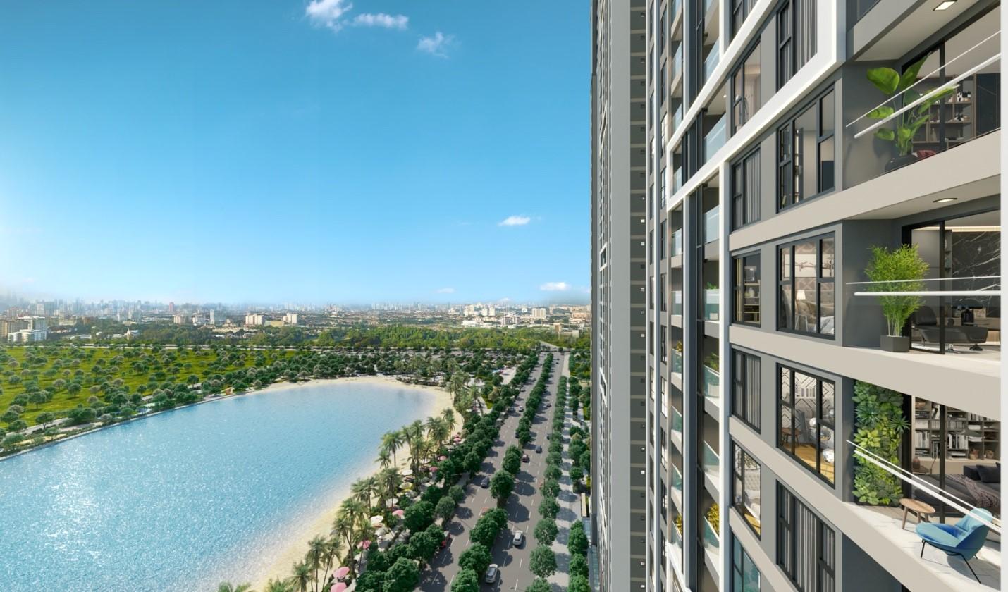 Masteri West Heights sở hữu tầm nhìn toàn cảnh ra hồ điều hòa trung tâm đại đô thị Vinhomes Smart City. Ảnh phối cảnh: Masterise Homes.