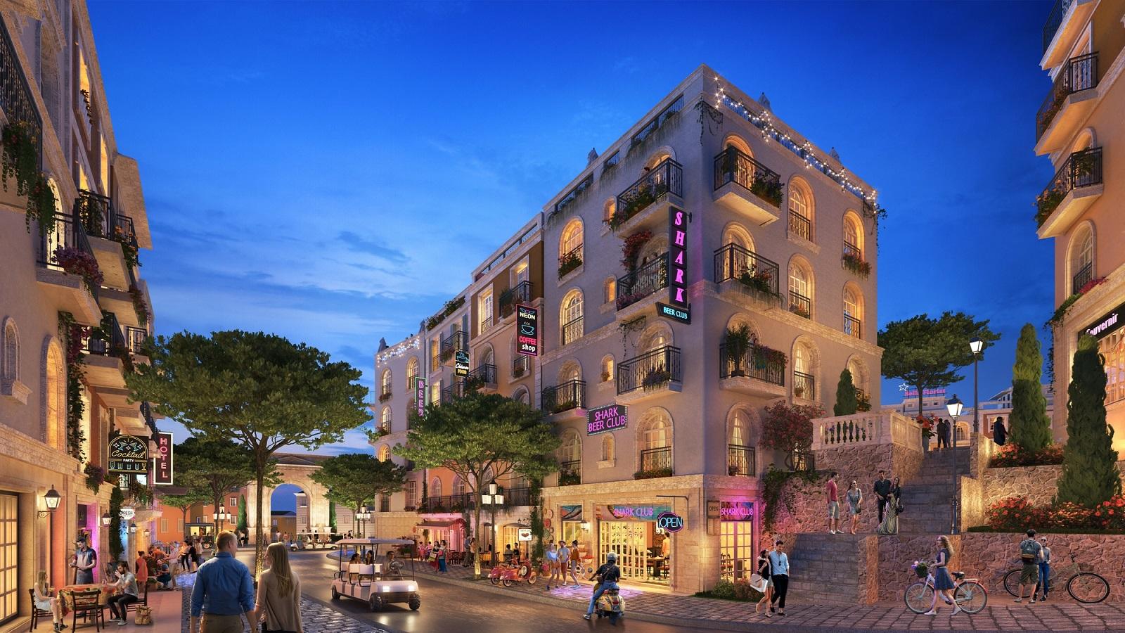 Du khách có thể trải nghiệm các tiện ích dịch vụ đa dạng tại thị trấn Địa Trung Hải lâu hơn, giúp tăng nguồn thu cho shophouse. Ảnh phối cảnh: Sun Group.
