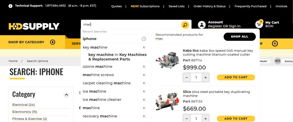 Việc tích hợp tính năng Thêm vào giỏ hàng vào thanh tìm kiếm giúp HD Supply giải quyết bài toán trải nghiệm gián đoạn khi thực hiện giao dịch của khách hàng. Ảnh chụp màn hình website thương mại của HD Supply.