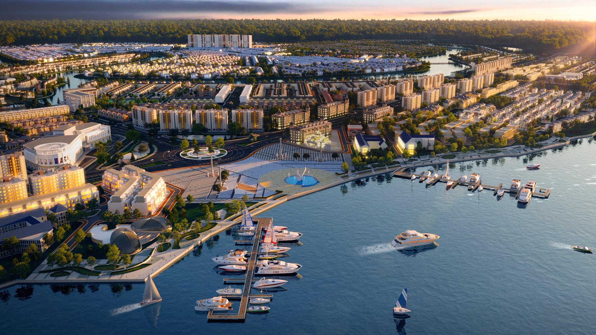 Tổ hợp quảng trường - bến du thuyền Aqua Marina tại Aqua City được xem là tiện ích thượng lưu hàng đầu khu vực. Ảnh phối cảnh: Novaland.