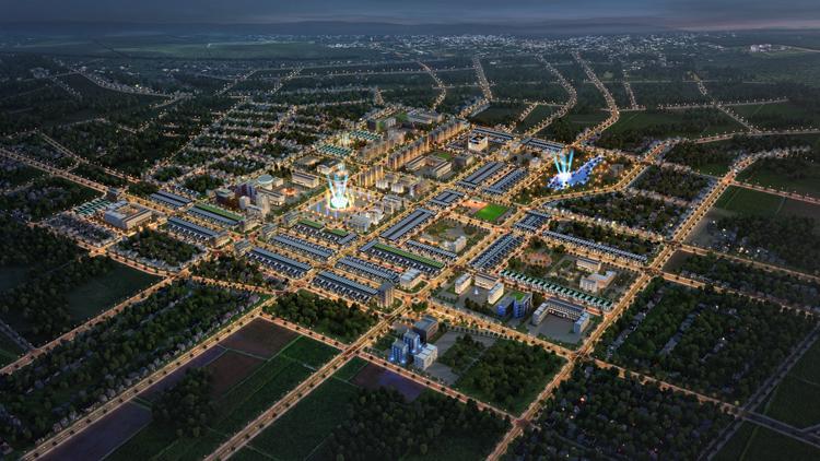 Phối cảnh tổng thể khu hành chính mới trung tâm huyện Đak Đoa.
