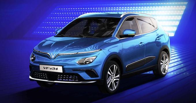 Mẫu ôtô điện VF e34 của VinFast dự kiến giao tới tay khách hàng vào cuối năm 2021. Ảnh: VinFast