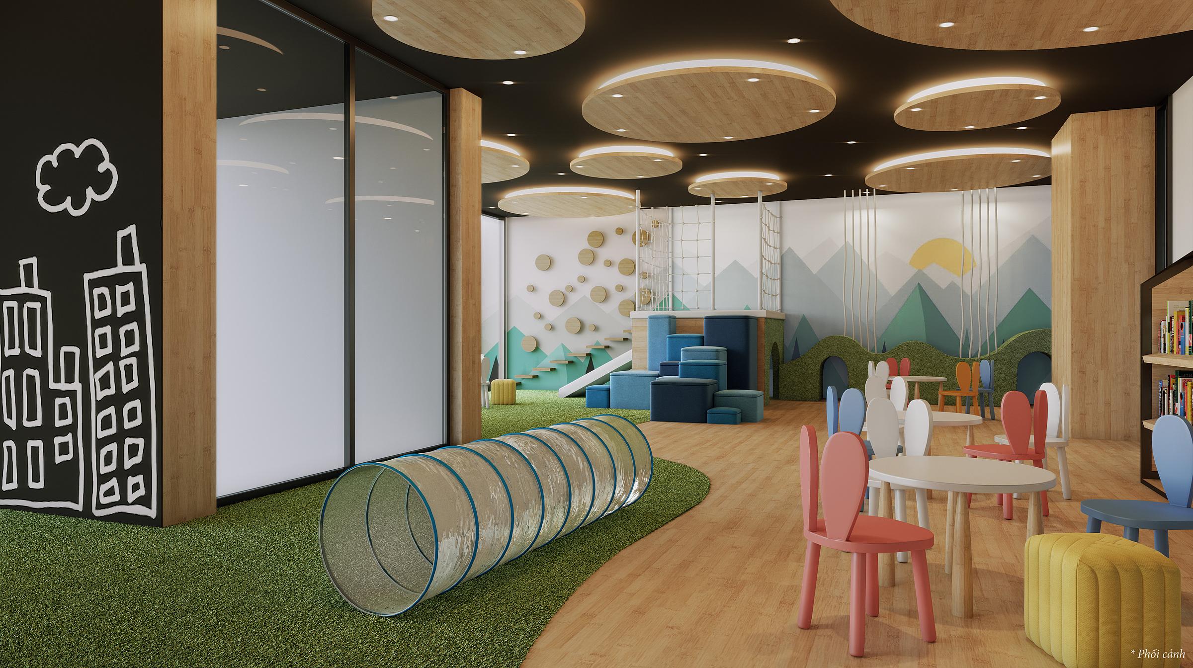Ngoài khu vui chơi trẻ em ngoài trời, Masteri West Heights còn dành riêng một không gian vui chơi trong nhà cho các cư dân nhí. Ảnh phối cảnh: Masterise Homes.