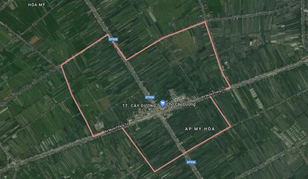 Bản đồ thị trấn Cây Dương. Ảnh: Google Maps.