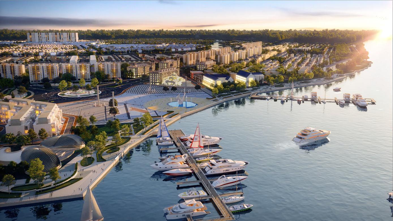 Tổ hợp quảng trường - bến du thuyền Aqua Marina tại đô thị sinh thái Aqua City dự kiến ra mắt cuối tháng 7. Ảnh phối cảnh: Novaland.