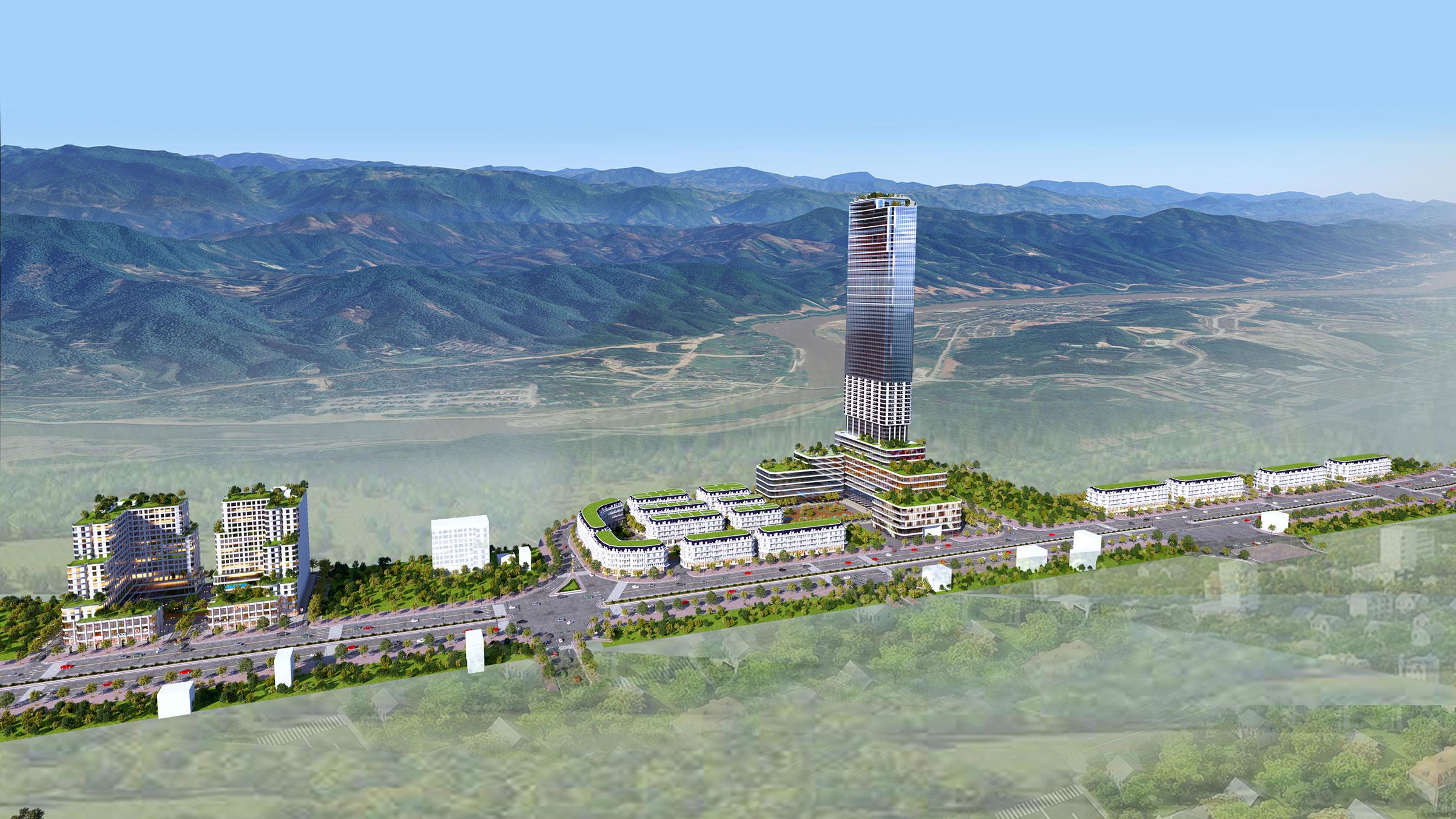 Phối cảnh tổng thể dự án xây dựng khu nhà ở thương mại và các công trình hỗn hợp – dịch vụ, khu đô thị mới Lào Cai - Cam Đường, Lào Cai.